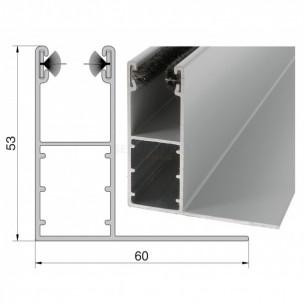 Coulisse aluminium de 53 x 22 mm à aile pour volet roulant rénovation